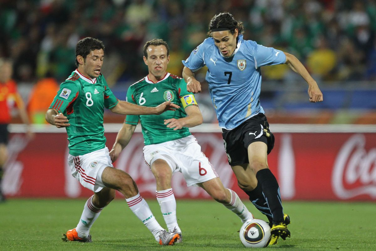 Edinson Cavani against Mexico during the 2010 World Cup in South Africa