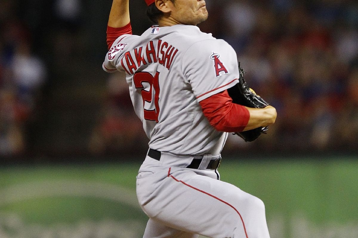 ARLINGTON, TX - AUGUST 2:  Hisanori Takahashi #21 of the Los Angeles Angels Anaheim delivers a pitch against the Texas Rangers at Rangers Ballpark in Arlington on August 2, 2012 in Arlington, Texas.  (Photo by Rick Yeatts/Getty Images)