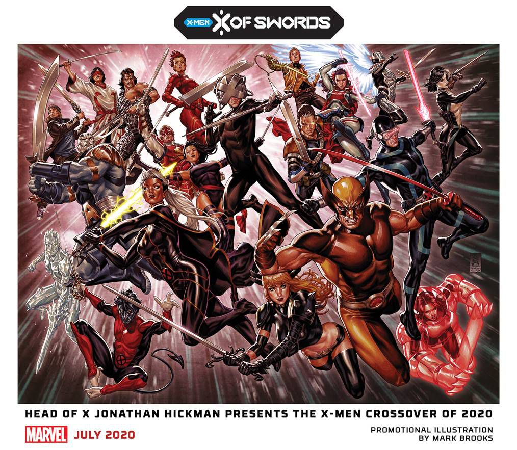 Many mutants leap through the air brandishing swords in promotional art for Marvel's X of Swords event.