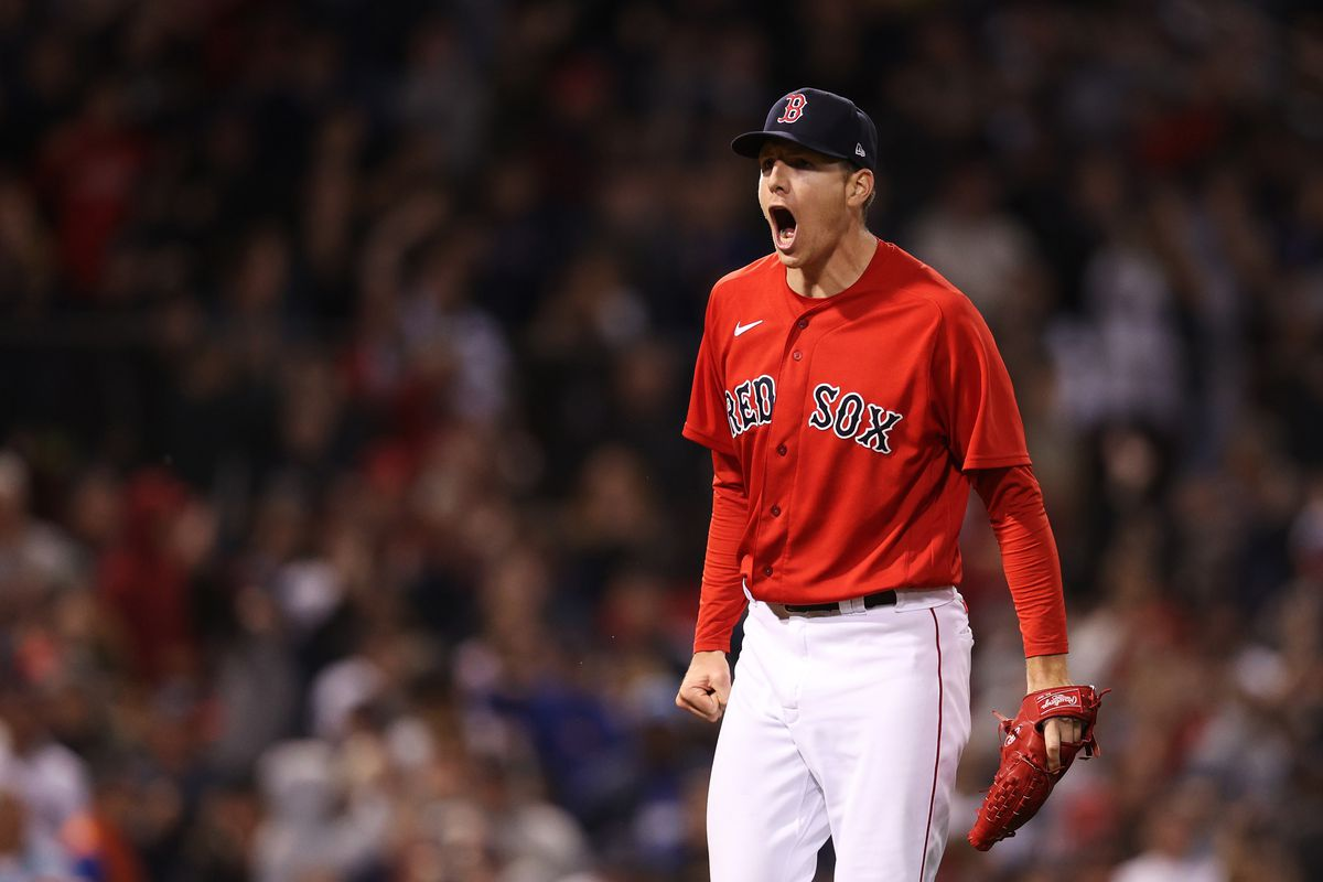 Nick Pivetta #37 of the Boston Red Sox celebrates striking out Mike Zunino #10 of the Tampa Bay Rays in the 13th inning during Game 3 of the American League Division Series at Fenway Park on October 10, 2021 in Boston, Massachusetts.
