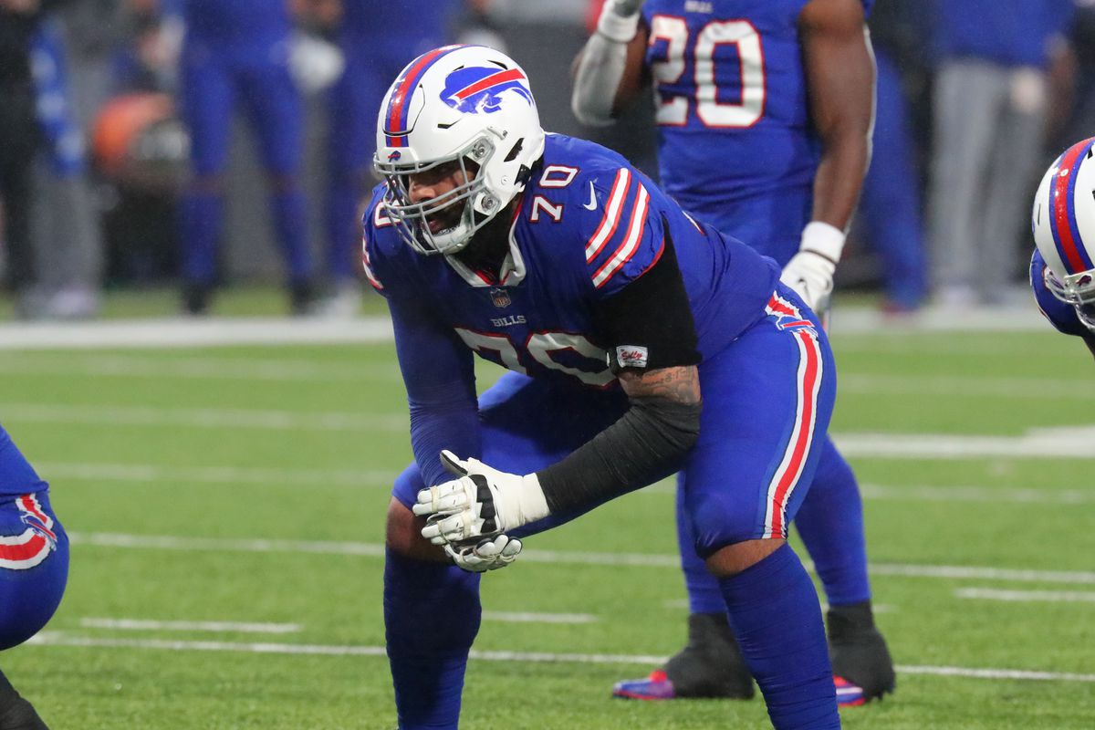 Cody Ford #70 of the Buffalo Bills on the field against the Kansas City Chiefs at Bills Stadium on October 19, 2020 in Orchard Park, New York.