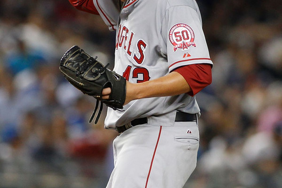 NEW YORK, NY - AUGUST 10:  Garrett Richards #43 of the Los Angeles Angels of Anaheim reacts against the New York Yankees on August 10, 2011 at Yankee Stadium in the Bronx borough of New York City.  (Photo by Mike Stobe/Getty Images)