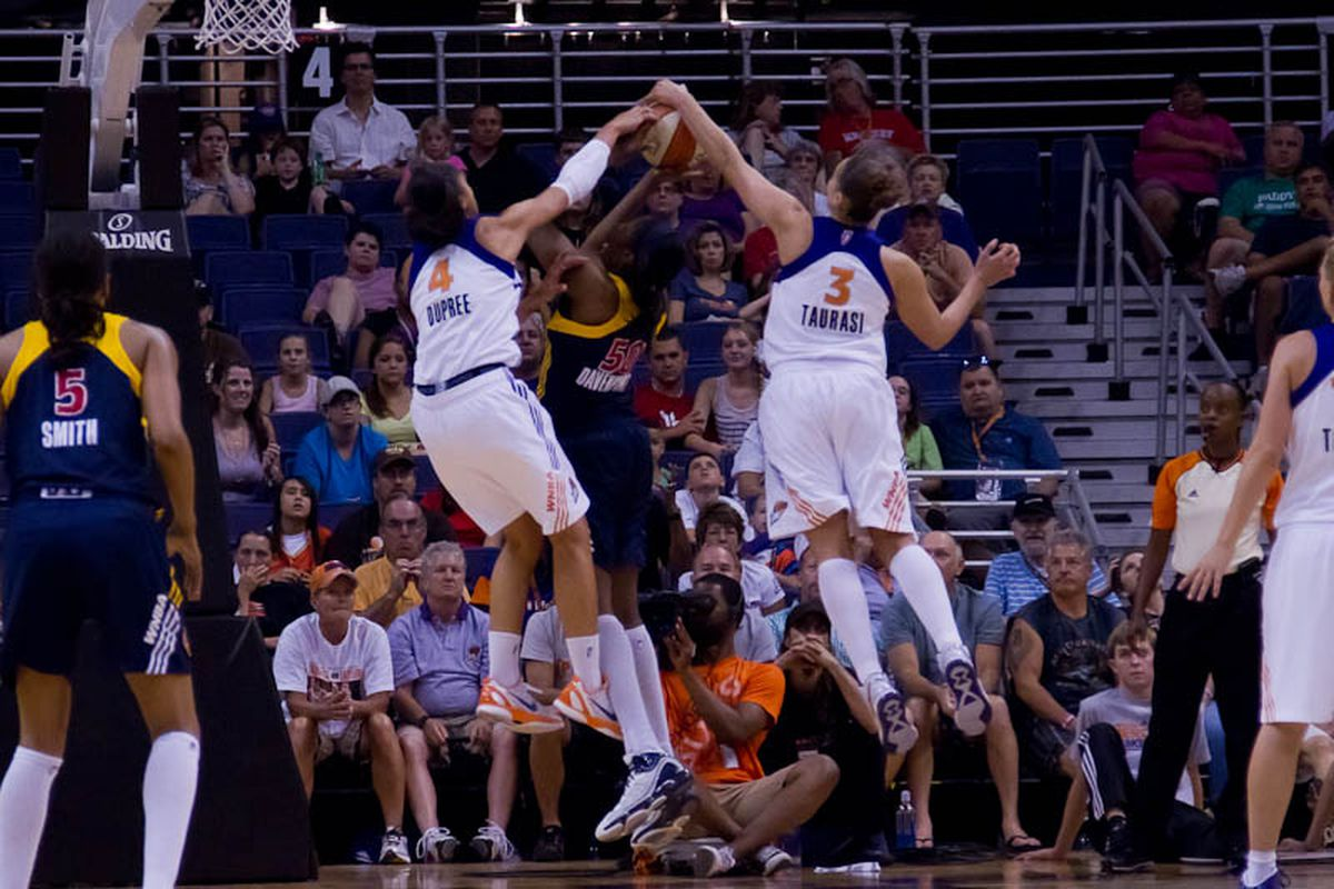 Candice Dupree and Diana Taurasi combine for a block on Jessica Davenport of the Indiana Fever. (Photo by Ryan Malone, SB Nation Arizona)