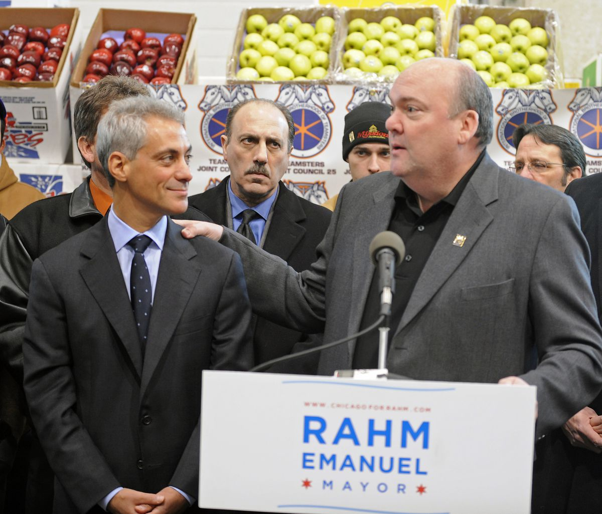 Rahm Emanuel getting the endorsement of John T. Coli Sr. (right) on Jan. 25, 2011, during his first run for mayor.