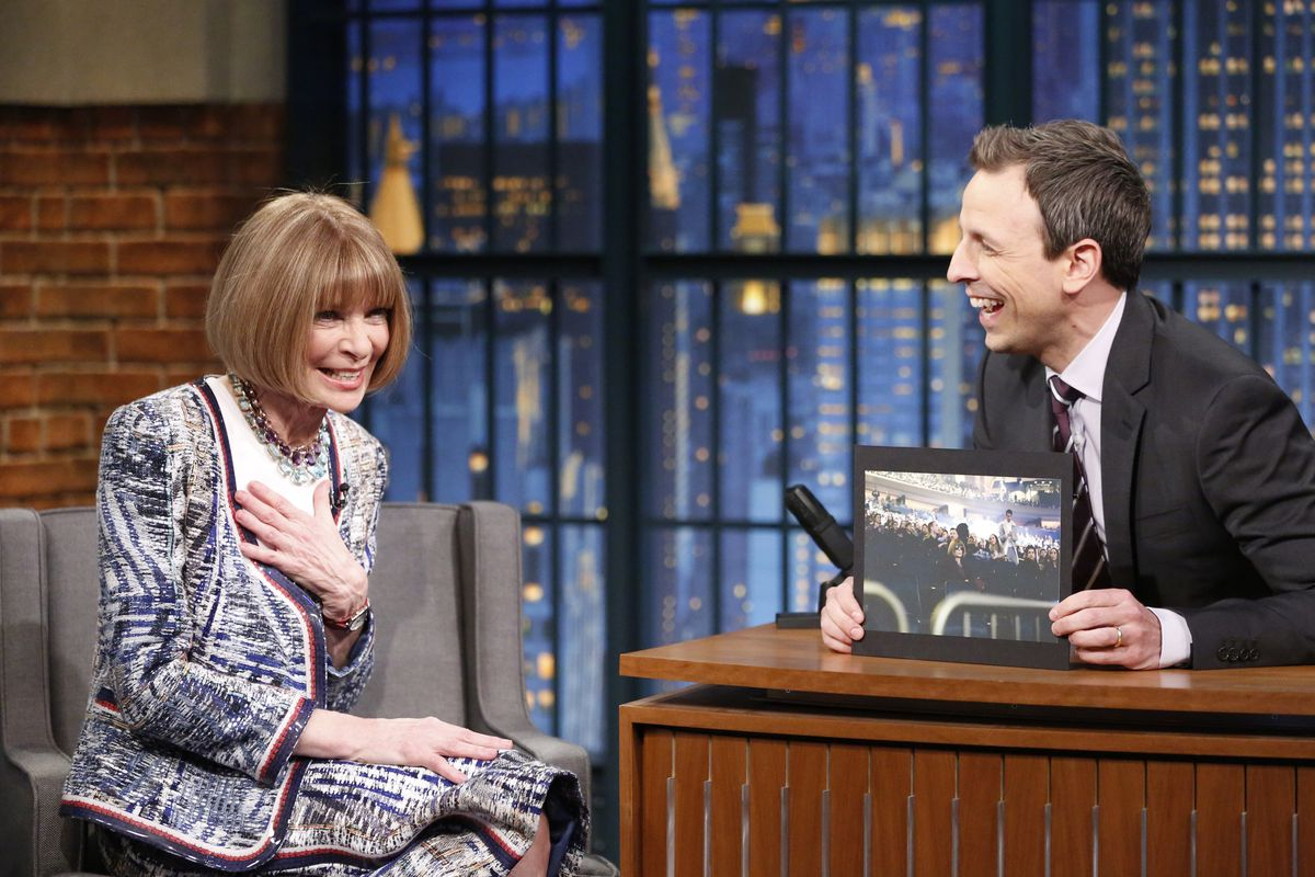 """Anna Wintour on """"Late Night with Seth Meyers."""" Photo: NBC/Getty Images"""