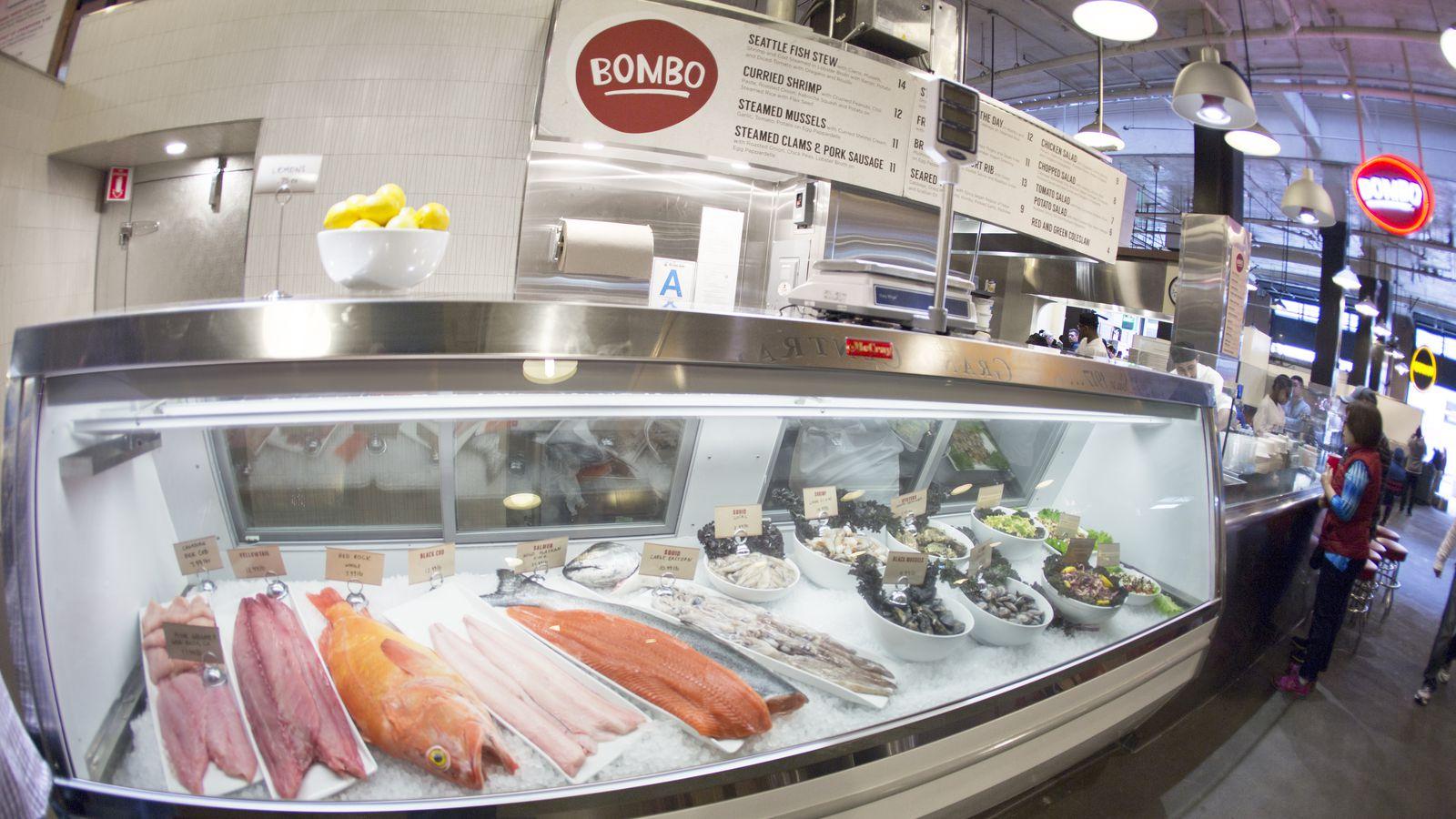 Mark peel 39 s bombo fish market now open inside grand for Boston fish market chicago