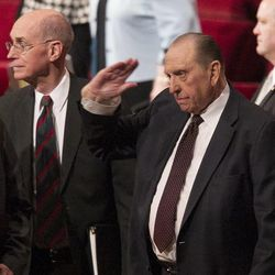 President Thomas S. Monson salutes the audience following the afternoon session Saturday, April 6, 2013 of the 183th Annual General Conference of The Church of Jesus Christ of Latter-day Saints in the Conference Center.