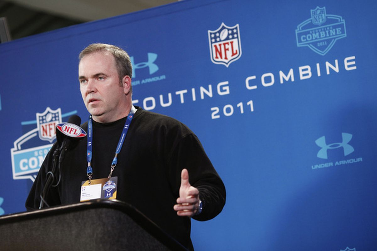INDIANAPOLIS IN - FEBRUARY 25: Green Bay Packers head coach Mike McCarthy answers questions during a media session at the 2011 NFL Scouting Combine at Lucas Oil Stadium on February 25 2011 in Indianapolis Indiana. (Photo by Joe Robbins/Getty Images)