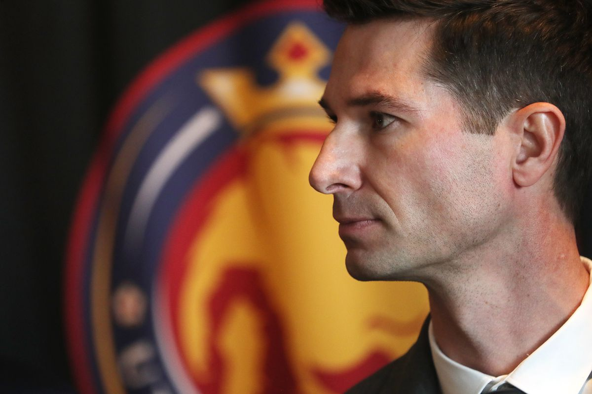 Craig Harrington listens as he is introduced as the new Utah Royals FC head coach during a press conference at Rio Tinto Stadium in Sandy on Friday, Feb. 7, 2020.