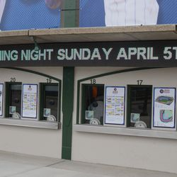 11:51 a.m. Ticket window display is on. Windows are still closed -