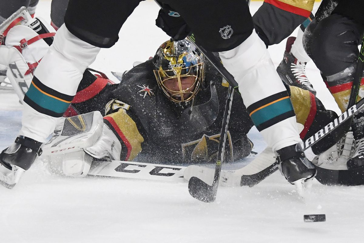 LAS VEGAS, NEVADA - NOVEMBER 24: Marc-Andre Fleury #29 of the Vegas Golden Knights makes a diving save against the San Jose Sharks in the first period of their game at T-Mobile Arena on November 24, 2018 in Las Vegas, Nevada.