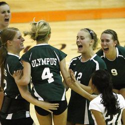 Olympus celebrates a point as Murray and Olymus play Tuesday, Sept. 13, 2011 at Murray. Olympus won the match in 5 games.