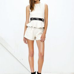 The Je Ne Sais Quoi Top and Beauty shorts in white.