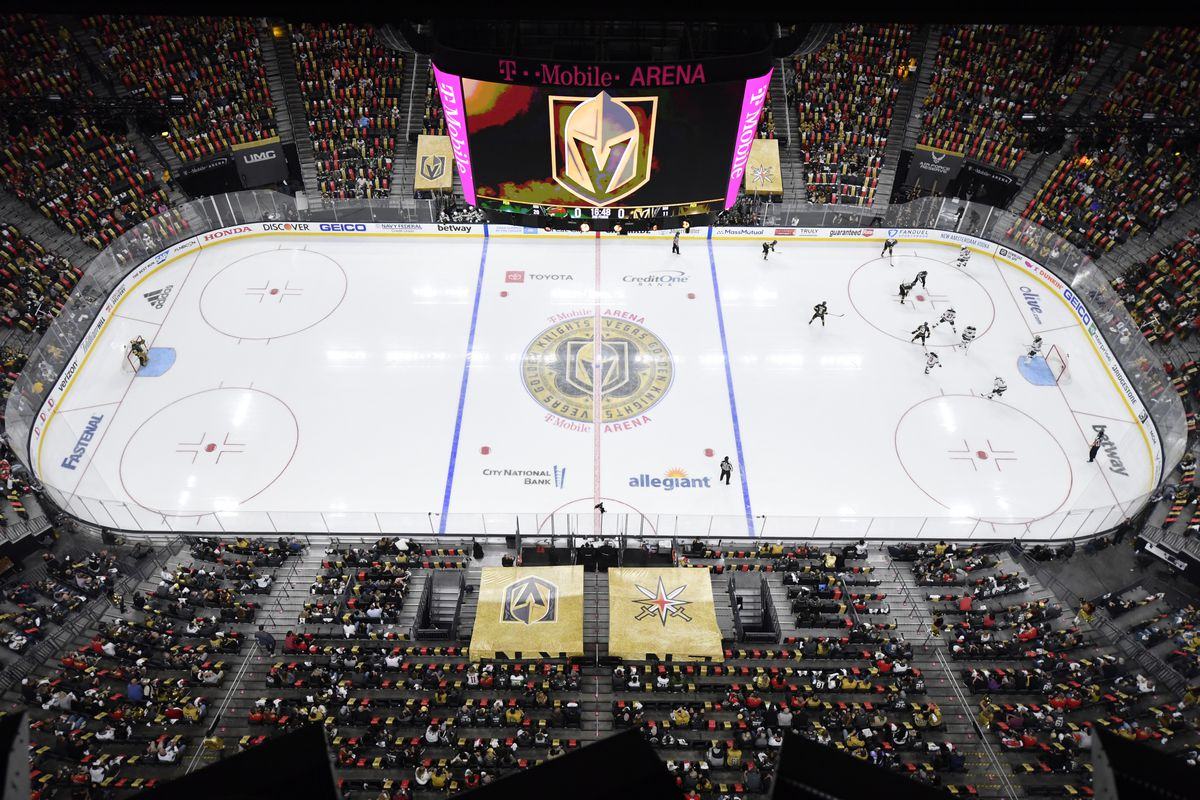 A general view of the ice during the second period in Game Two of the First Round of the 2021 Stanley Cup Playoffs between the Vegas Golden Knights and the Minnesota Wild at T-Mobile Arena on May 18, 2021 in Las Vegas, Nevada.