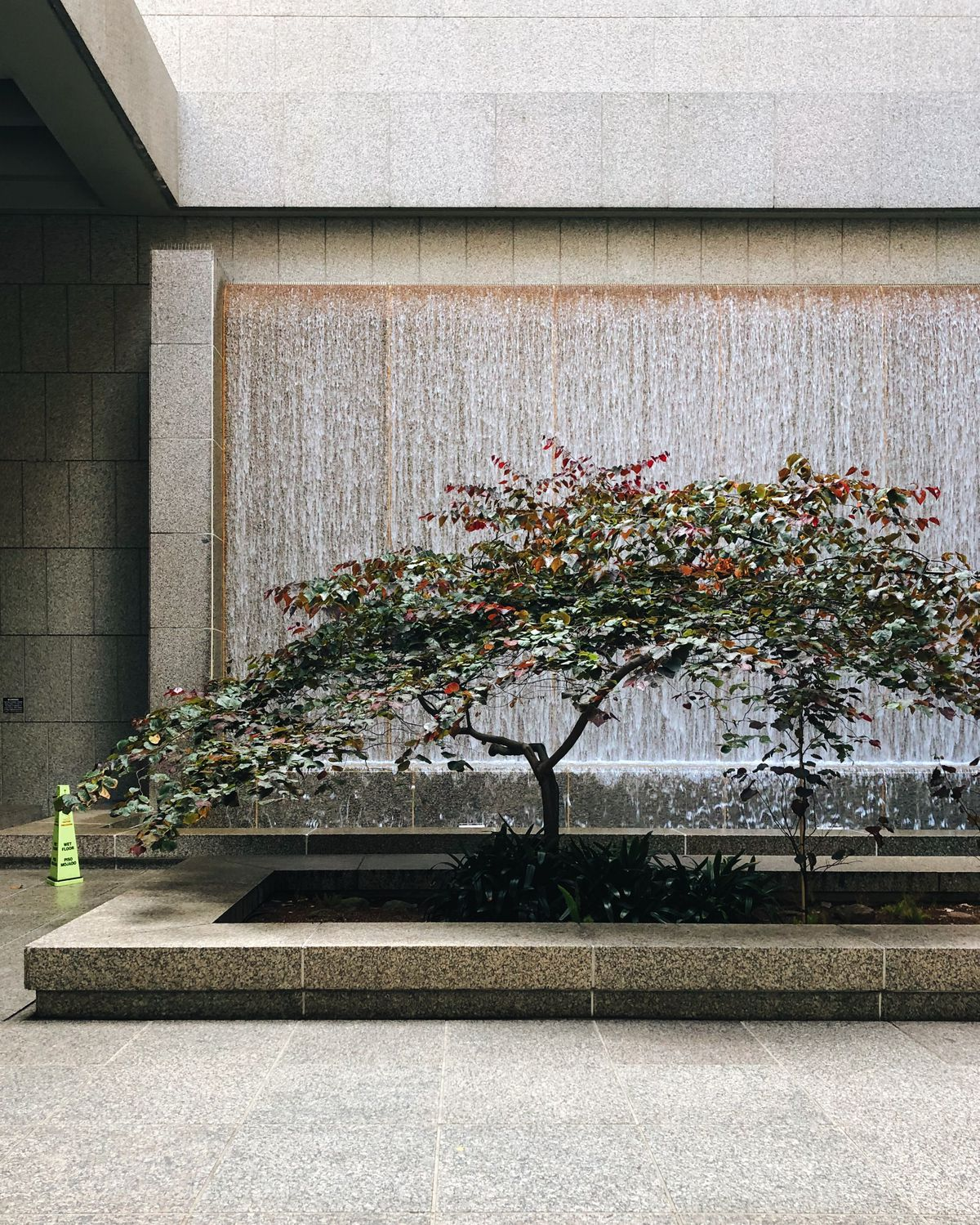 Two low trees with some pink flowers are planted in front of a waterfall sculpture.