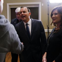 Sen. Mike Lee, R-Utah, and his wife, Sharon, greet supporters in South Jordan on Tuesday, Nov. 8, 2016, at an election night party.