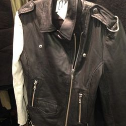 Oak leather-and-suede jacket, $120
