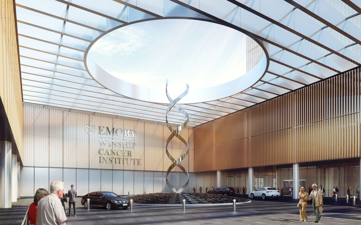Rendering of front entrance to building with circular driveway.