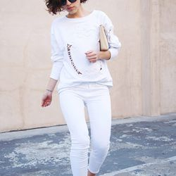 "Karla of <a href=""http://www.karlascloset.com/2013/03/looking-like-milk.html"">Karla's Closet</a> is wearing  a Zara sweatshirt, <a href=""http://www1.bloomingdales.com/shop/product/j-brand-jeans-harper-mid-rise-twill-capri-in-white?ID=672178"">J Brand white"