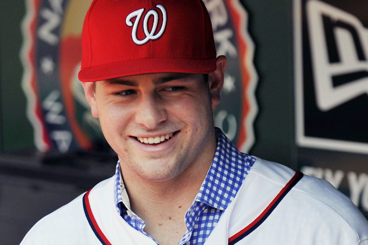 July 17, 2012; Washington, D.C., USA; Washington Nationals first round draft pick Lucas Giolito in the dugout before a game against the New York Mets at Nationals Park. Joy R. Absalon-USA TODAY Sports