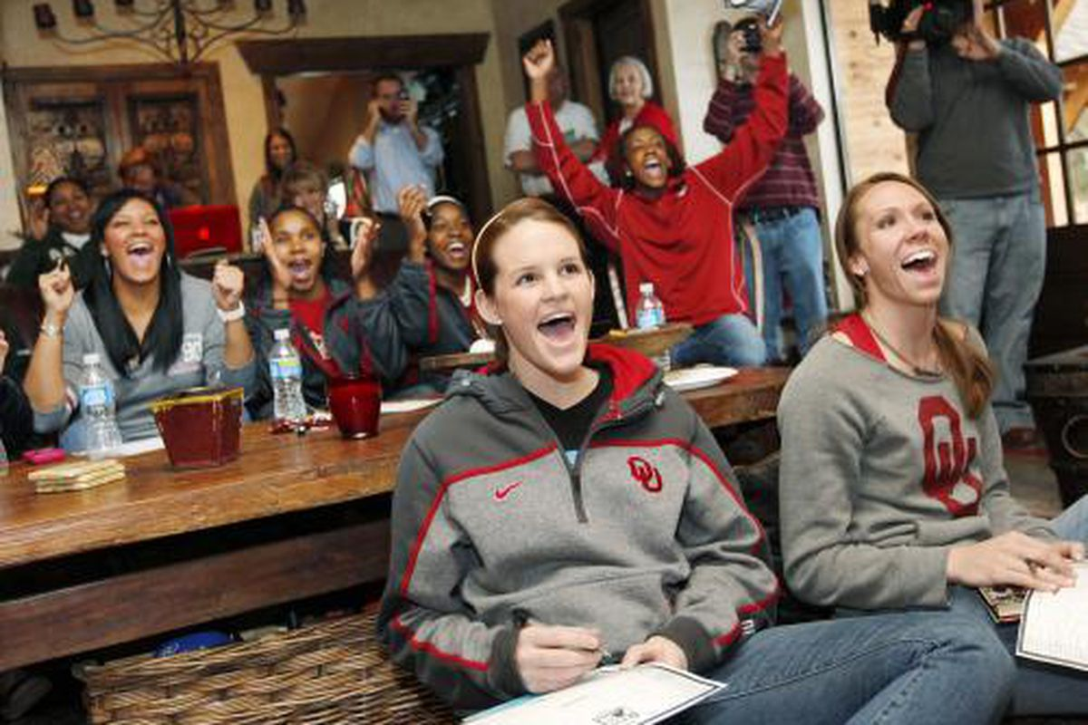 The OU women's basketball team celebrates after watching their announcement in the NCAA tournament Monday night.
