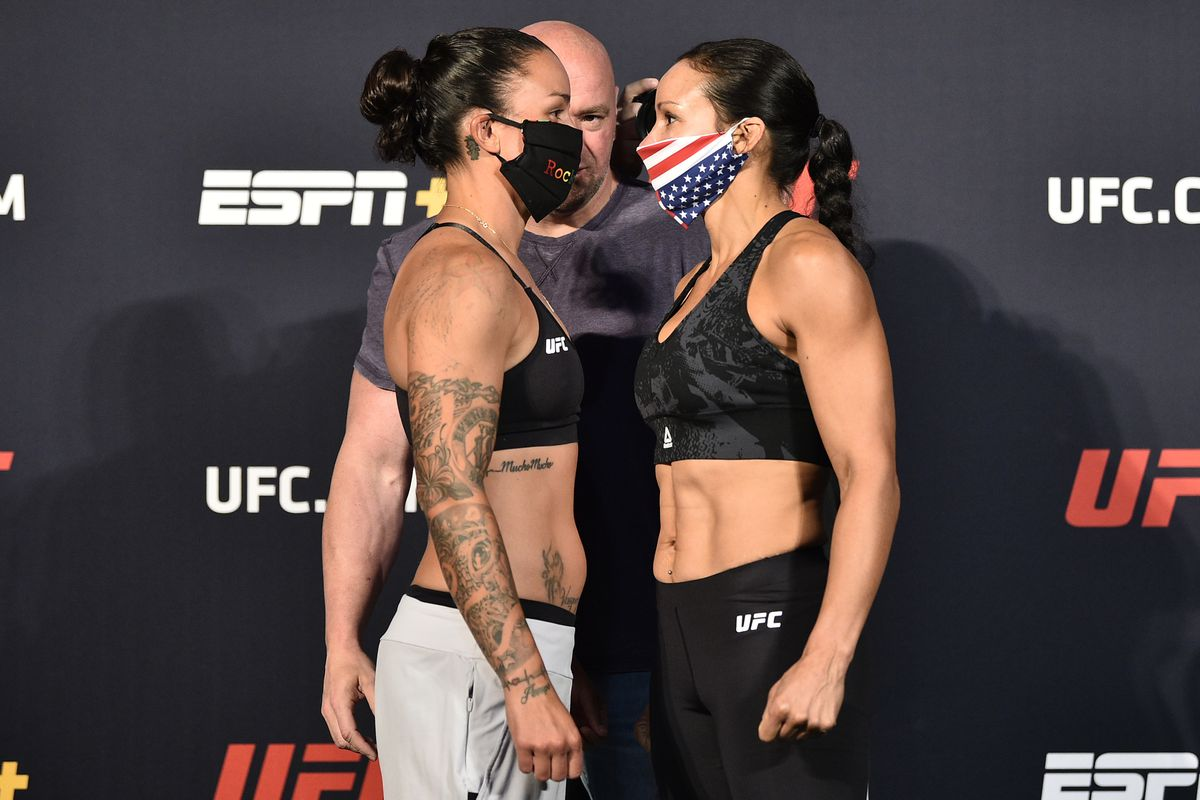 In this handout image provided by UFC, opponents Raquel Pennington and Marion Reneau face off during the UFC weigh-in at UFC APEX on June 19, 2020 in Las Vegas, Nevada.