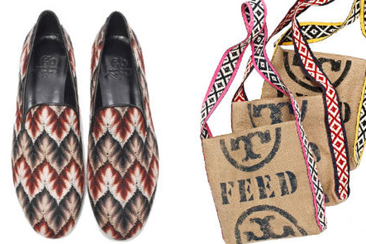 """<a href=""""http://muzungushop.motilo.com/missoni-x-muzungu-sisters-x-cb-for-small-steps-project-i.html"""">Missoni smoking slippers</a>, about $450 and <a href=""""http://www.holtrenfrew.com/holts/pages/articles/article.dot?url=112105&amp;language_id=1"""">Tor"""