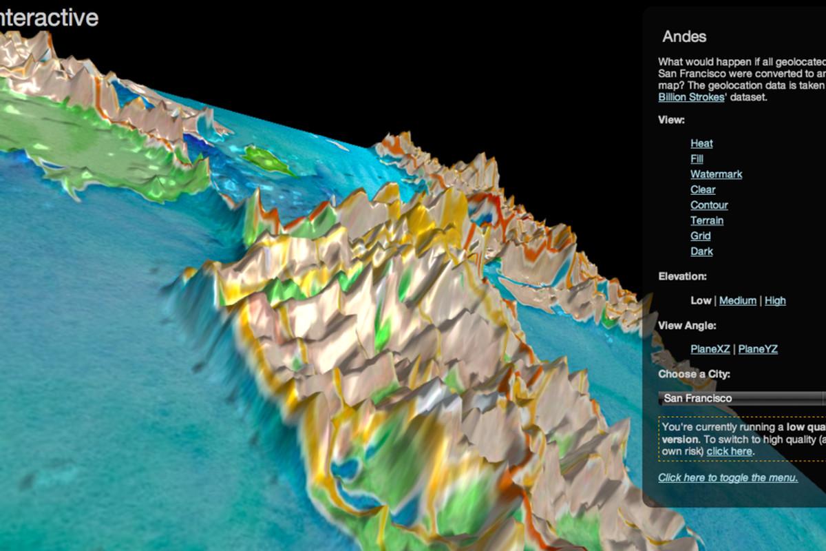 Twitter 3D elevation tweet map