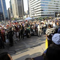 President of the NAACP, Benjamin Todd Jealous, right, speaks to a crowd during the NAACP voter ID rally to demonstrate the opposition of Pennsylvania's new voter identification law, Thursday, Sept. 13, 2012. Pennsylvania's Supreme Court justices are scheduled to hear arguments over whether a new law requiring each voter to show valid photo identification poses an unnecessary threat to the right to vote.