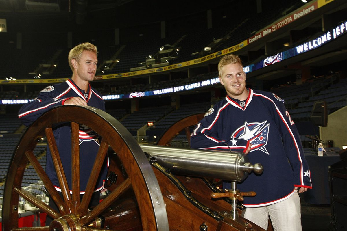 The Blue Jackets: Now 200% blonder by volume  (Photo by John Grieshop/Getty Images)