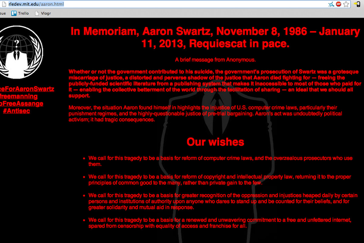 Anonymous replaces MIT websites with Aaron Swartz memorial