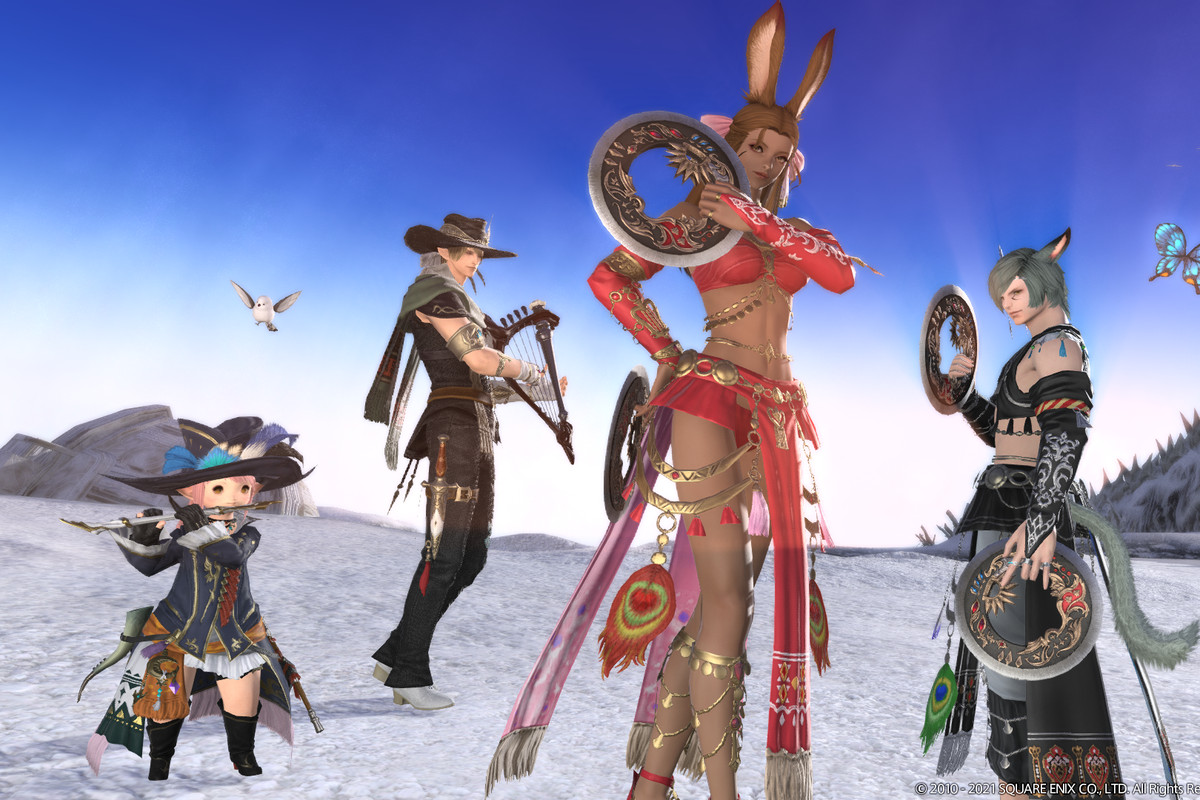 Four different Final Fantasy characters stand on a snowy field with their weapons drawn