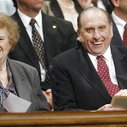 """Sister Francis Monson sits next to her husband, President Thomas S. Monson, before a talk. He described """"guideposts that stand for our direction."""""""