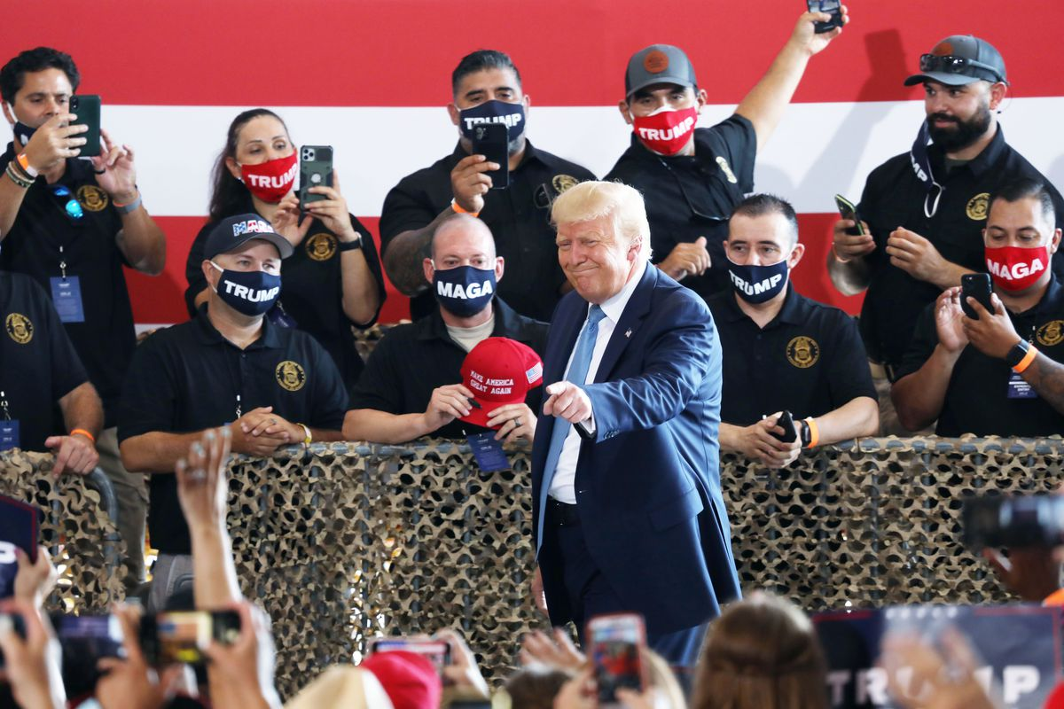 President Donald Trump attends a campaign rally at The Defense Contractor Complex last week in Yuma, Arizona.
