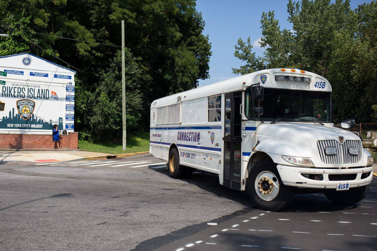 A Department of Correction bus leaves Rikers Island, Sept. 13, 2021.