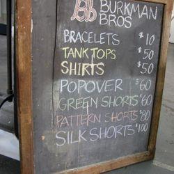 Prices at Burkman Bros