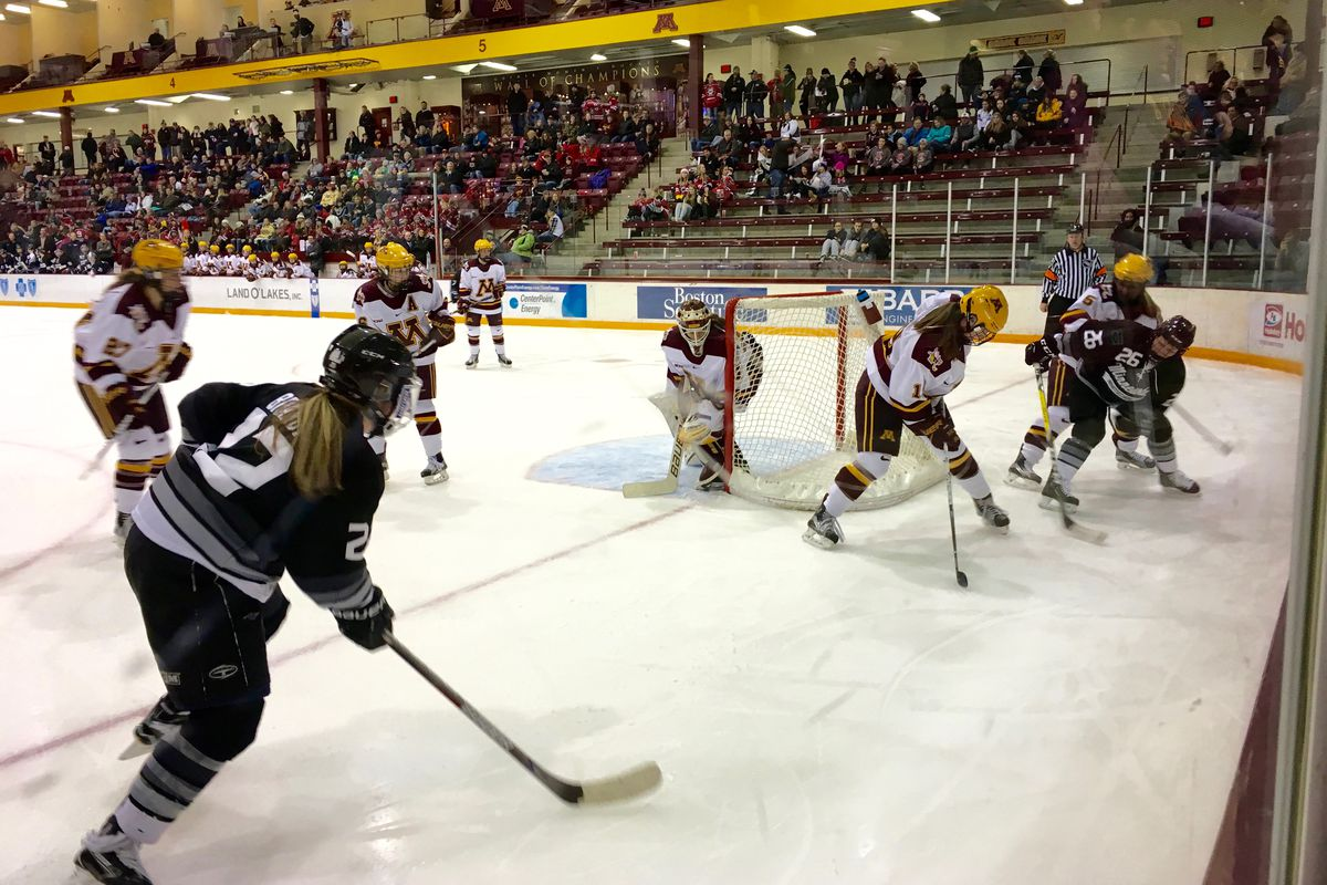 The Minnesota Gophers playing the Minnesota Whitecaps in an exhibition game on 1/6/17. This photo is from third period with Emma May in goal.