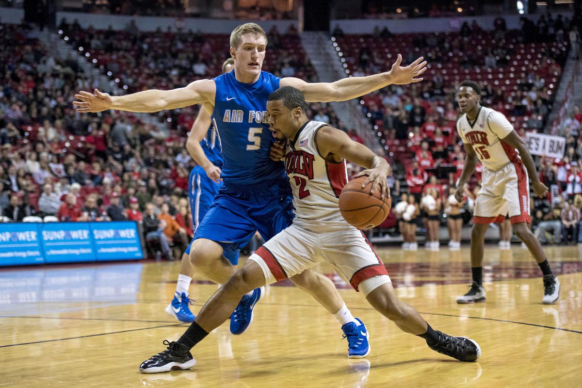 Jerome Seagears handles the ball against Air Force
