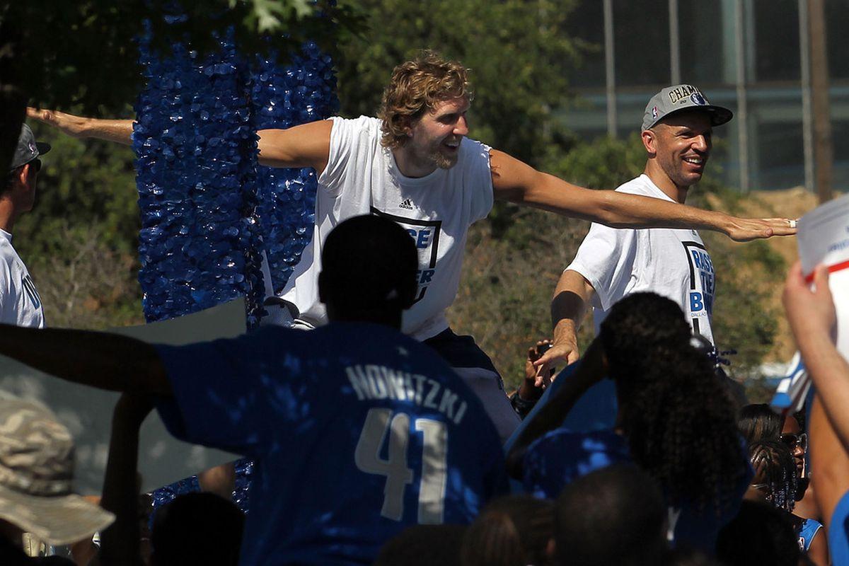 DALLAS, TX - JUNE 16:  Dirk Nowitzki of the Dallas Mavericks cheers during the Dallas Mavericks Victory Parade on June 16, 2011 in Dallas, Texas.  (Photo by Ronald Martinez/Getty Images)