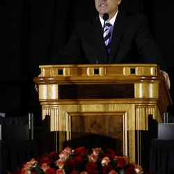 BYU senior associate athletics director Brian Santiago presides over a public memorial service for former Cougar football coach LaVell Edwards at the Provo Convention Center on Friday, Jan. 6, 2017.