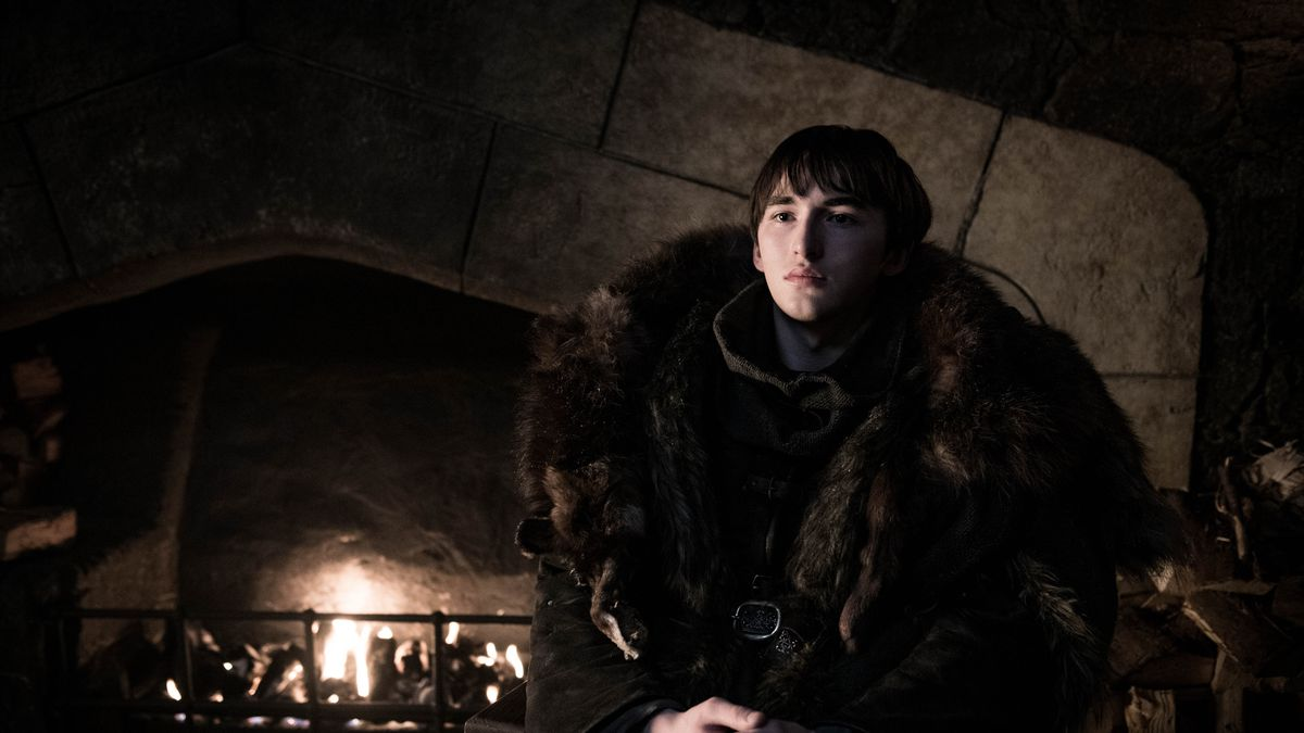 Game of Thrones season 8 - Bran Stark in front of a fireplace at Winterfell