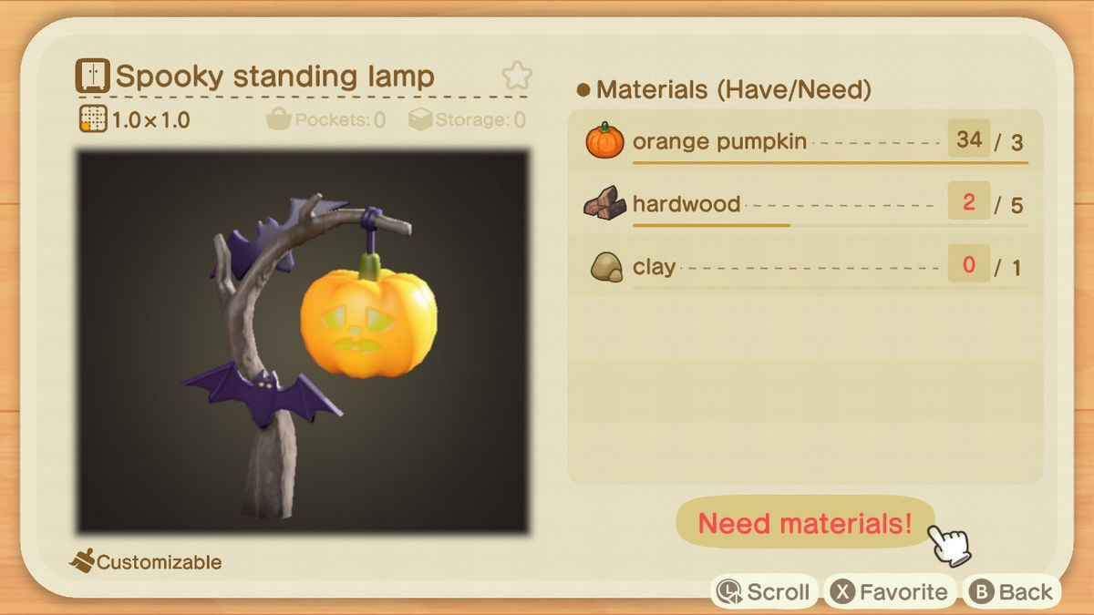 An Animal Crossing recipe for a Spooky Standing Lamp