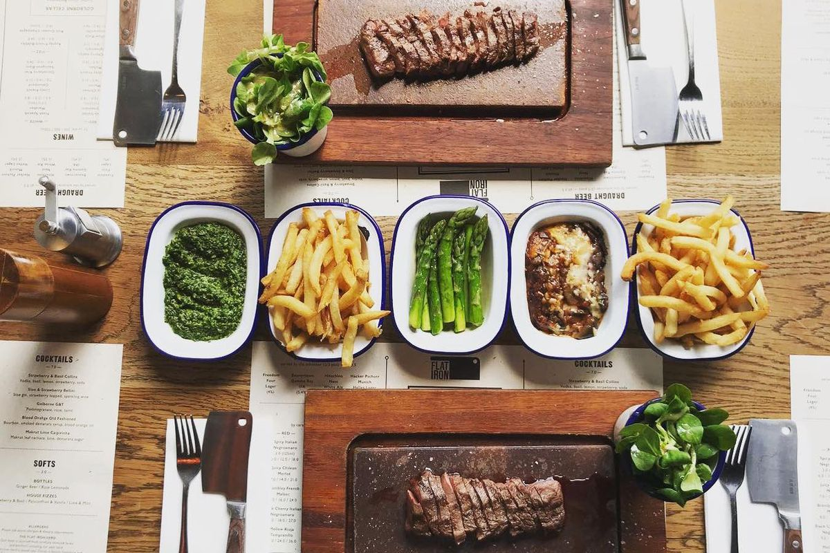 Flat iron steak at Flat Iron restaurants, soon to open a sixth site at King's Cross, London