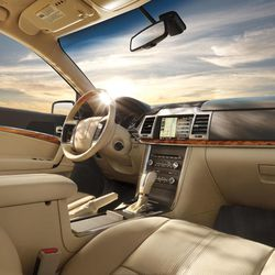 This undated publicity photo provided by Ford/Lincoln shows the interior of a 2012 Lincoln MKZ  midsize luxury car.