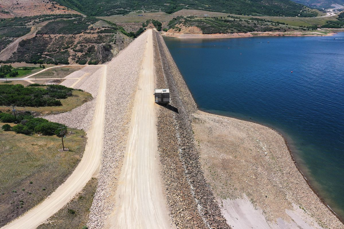 The Jordanelle Dam in Wasatch County. The water levels at the reservoir are low due to drought.