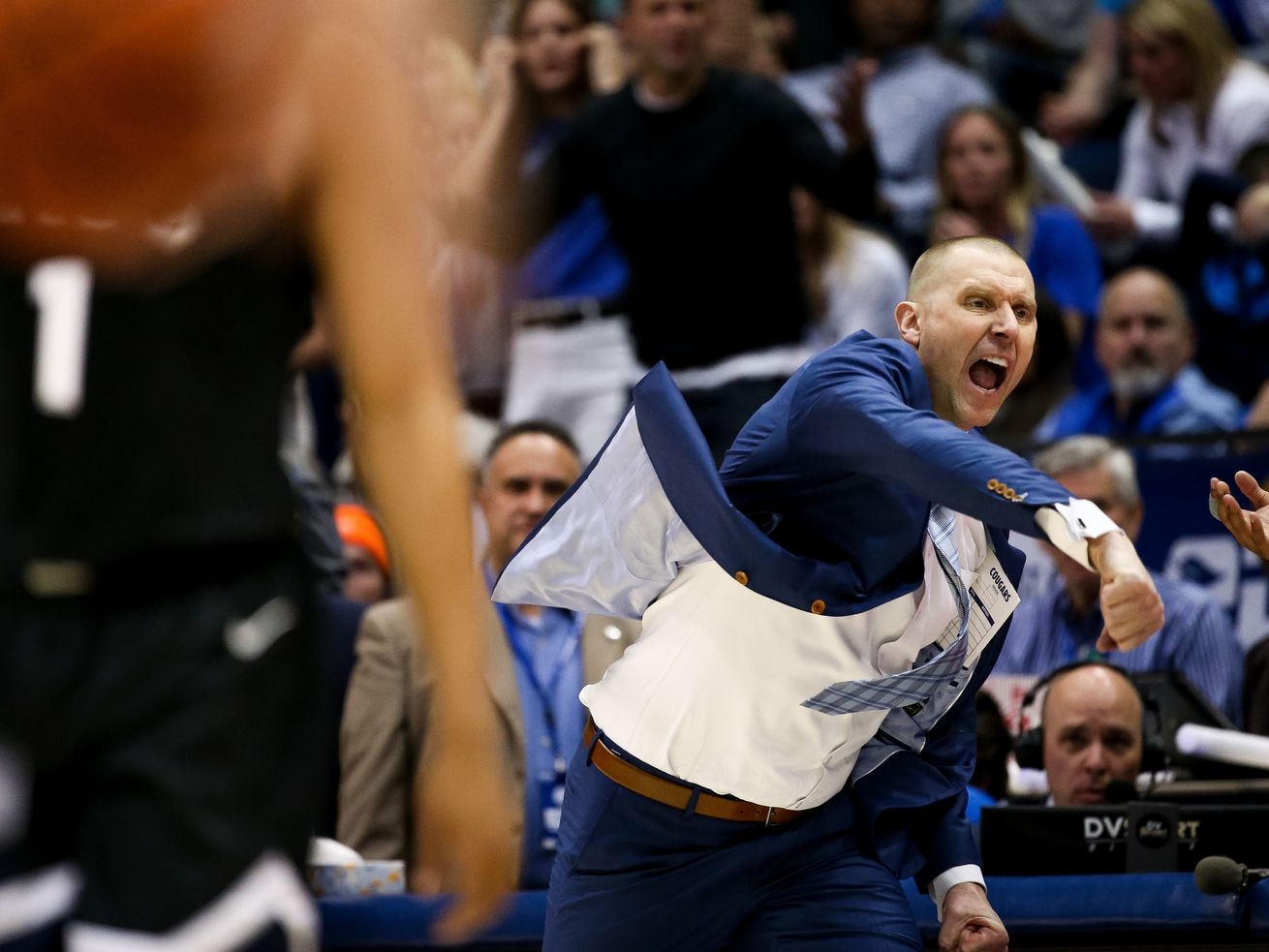 BYU coach Mark Pope yells during game against Gonzaga at the Marriott Center in Provo on Saturday, Feb. 22, 2020.