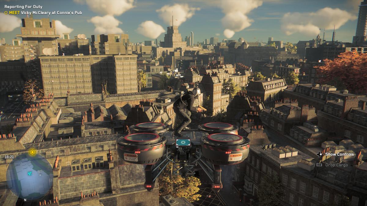 Flying on a drone in Watch Dogs: Legion