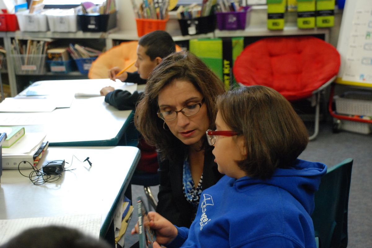 Susana Cordova visits a classroom at College View Elementary School in 2016.