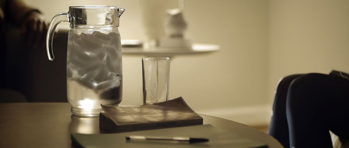 water pitcher and walden book in upstream color