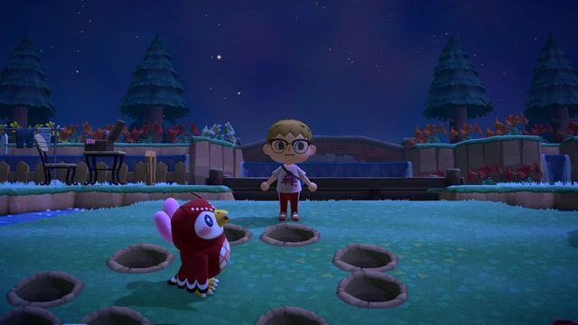 Celeste, a small owl, looks up at a starry night sky, while surrounded by holes in the ground